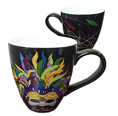 New Orleans French Quarter Feather Mask Black Coffee Mug