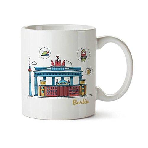 Berlin Colorful Minimal Design Coffee Mug - Ceramic - 11 oz - Berlin Souvenir Cup Mom Dad Boyfriend Girlfriend Germany Novelty German City Funny Gift