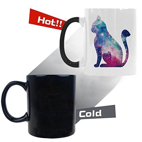 Starry cat silhouette design Coffee Mug Heat Sensitive Morph Mug Ceramic Material Color Change Mug 11 Ounces