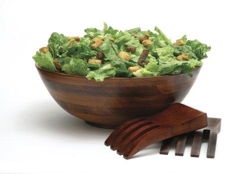 Lipper 3 Piece - Dark Cherry Salad Serving Bowl With Salad Hands Set