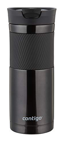 Contigo Byron Snapseal Travel Mug Stainless Steel Thermal Mug Vacuum Flask Leakproof Tumbler Coffee Mug with BPA Free Easy-Clean Lid 590 ml Black