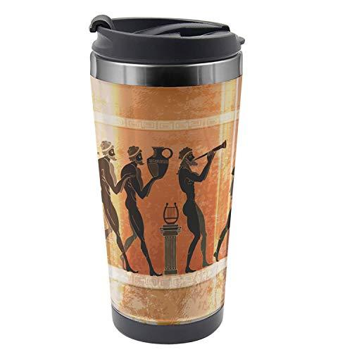 Lunarable Mythology Travel Mug Greek Warriors Steel Thermal Cup 16 oz Cinnamon Orange