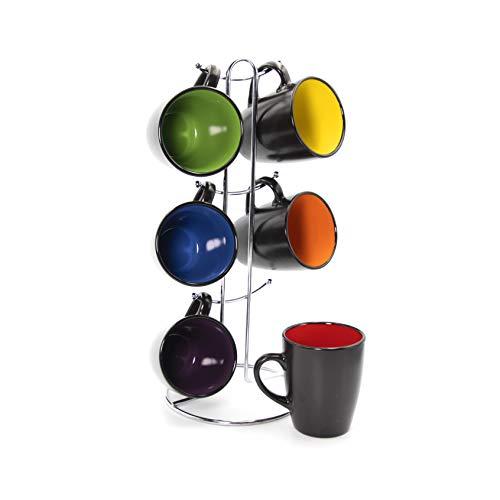 Gypsy Color 8 OZ Americano Hanging Coffee Mug Set with Metal Tree Black Multicolor Hand Glazed Ceramic Stoneware