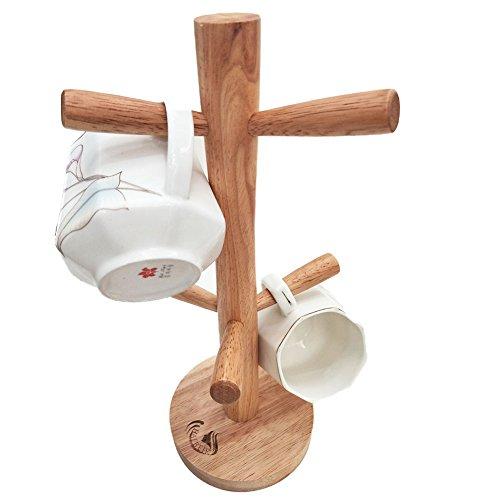 HAIBEIR Wooden Mug Tree Holder 6 Cups Holder Stand