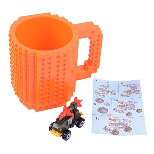 FUBARBAR Build On Brick Mug - BPA-Free 12oz Blocks Coffee Cup Comes with Build-On Building Bricks Plastic Mug for Coffee Tea Beverage Drinking Creative and Funny Orange
