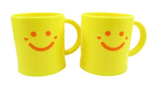 Happy Face Kids Plastic Mug 9 fl oz Neon Yellow Set of 2