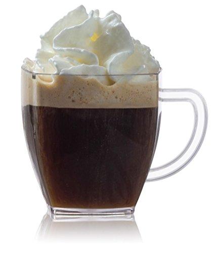 Zappy Square 2 Oz Mini Coffee Espresso Cappuccino Mugs 24 Ct Small Dessert Shot Glasses Party Wedding Cups Disposable Plastic Mug Clear
