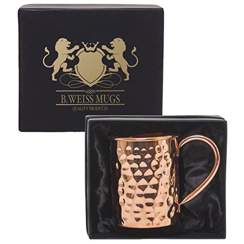B WEISS Moscow Mule Copper mug  Handmade Hammered mug- 100 Pure Copper Comes in an elegant gift box single mug