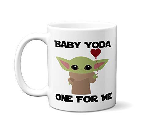 Baby Yoda One For Me Mug - Mandalorian Mug - White Handle Baby Yoda Mug Starwars Mug Novelty Mug Gift idea for Star Wars Fan - 11oz - White Ceramic - Valentines Day Gift Valentines
