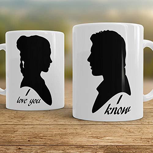 I love You I know mugs Couples mugs Star Wars mugs Han Solo and Leia - set of two mugs