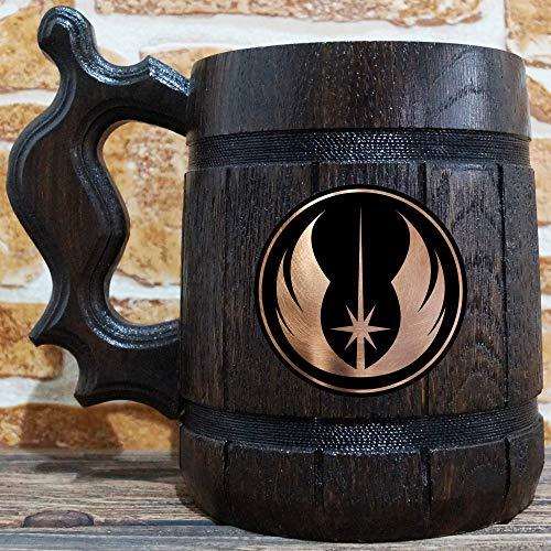 Jedi Order Beer Mug Star Wars Wooden Beer Stein Geek Gift Personalized Beer Stein Star Wars Tankard Custom Gift for Men Gift for Him