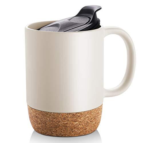 DOWAN 15 Oz Coffee Mug Set Large Ceramic Mugs Set of 2 Tea Mugs with Insulated Cork and Splash Proof Mug Lid Beige