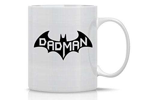 Funny Coffee Mug 11OZ - Dadman Superhero Mug - Funny Dad Mug - Perfect Gift for Dads Husbands and Fathers - Crazy Bros Mugs