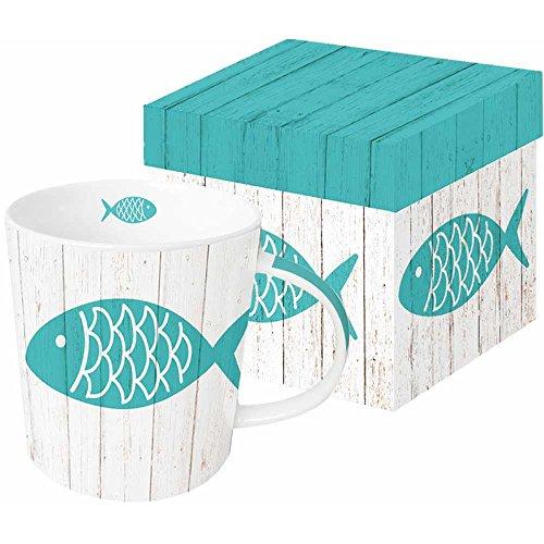 Paperproducts Design Gift Boxed New Bone China Mug Cabana Fish 135 oz Blue