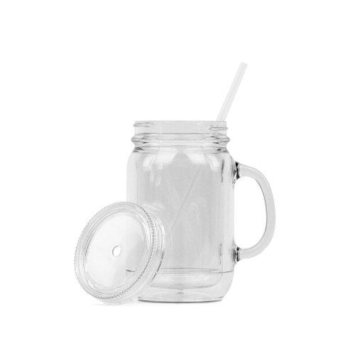 Acrylic Mason Jar Mugs - Double Wall - 16oz Capacity - Clear