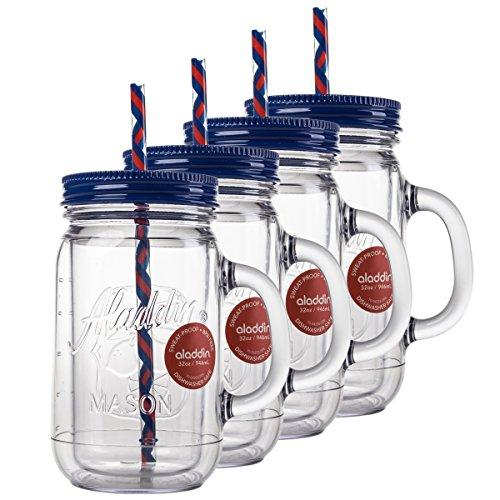 Aladdin 4 Pack 32oz Plastic Mason Jar Set Handled Lidded Tumbler Drinking Cup Mug Glasses Straws
