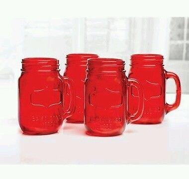 Mason Jar Mugs 24 oz Red