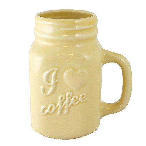 TMD Holdings I Love Coffee Ceramic Mason Jar Mug Cream