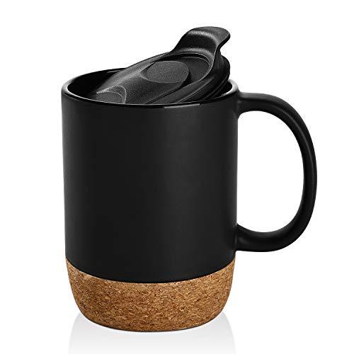 DOWAN 15 oz Coffee Mug Sets Set of 2 Large Ceramic Mugs with Insulated Cork and Splash Proof Mug Lid Matte Black