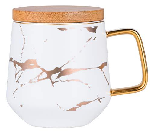 Jusalpha Golden Hand Print Coffee Mug With LidTea CupWater MugGift FDMUG02 White