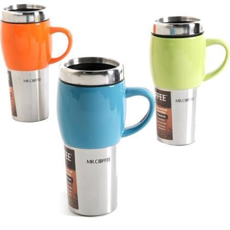 Mr Coffee Traverse 16 oz Travel Mugs with Lids Set of 3