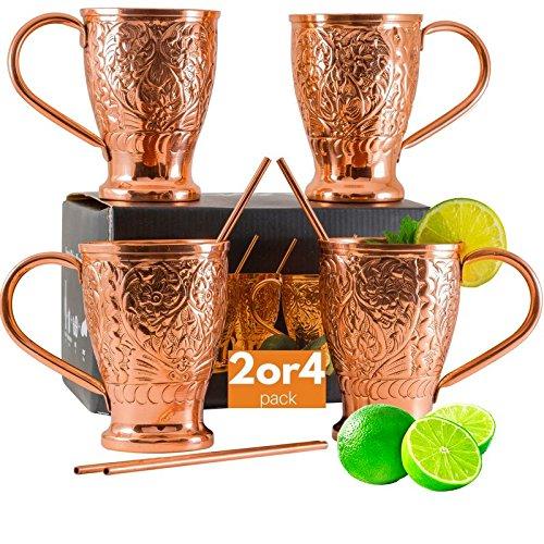 Moscow Mule Pure Copper Mugs with Bonus Copper StrawsStir Sticks Kamojo Embossed Gift Set 4