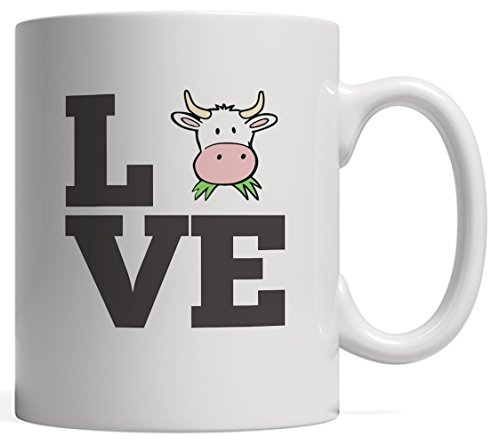 I Love Cow Mug - Funny And Cute Farm Gift For Farmer Bovine Lover Or Cattler or Herd Owner Who Love Animals Like Cows And Chicken Whether Youre Cowboy Or Cowgirl