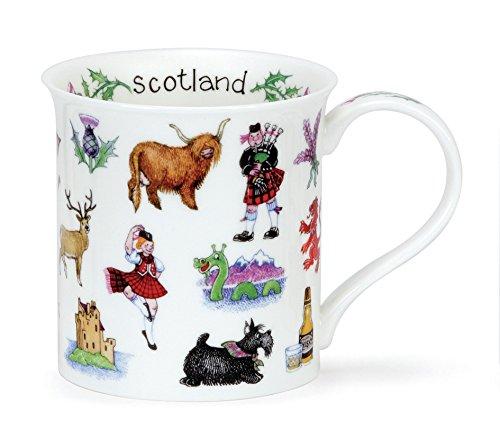 Lovely Dunoon Scotland Galore Thistle Highland Cow Fine Bone China Mug Bute Shape