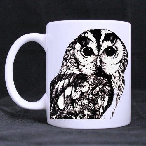 Custom Cartoon Cute Owl Ceramic White Morning Coffee Tea Drinking Mug 11 oz