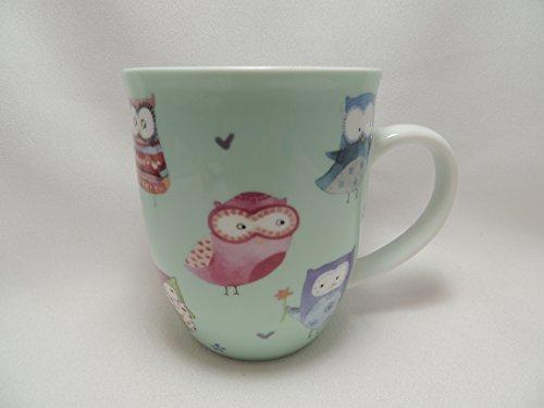 Pastel Owls Coffee Mug Cup Creative Tops 14 oz Teal Multi-Color So Cute