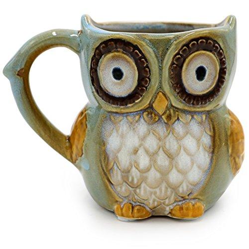 Teagas Cute Owl Coffee Mug 12 oz - Cyan Cute Owl Morning Coffee Ceramic Mug