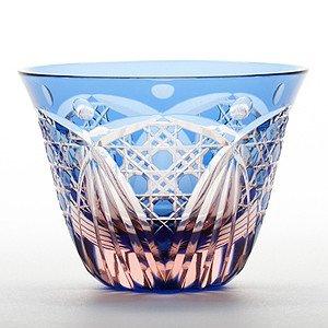 Edo Kiriko glass Japanese Sake cup Guinomi blue pink