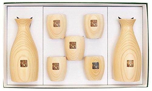 Japanese Hinoki Sake Set Round Design by WA ZAKKA
