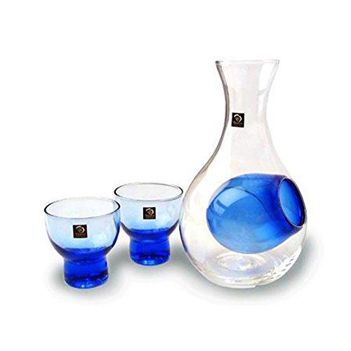 Happy Sales HSSS-GLB12 Blue Glass Sake Set for Cold Sake