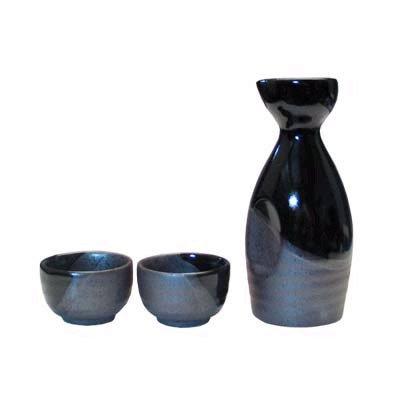 Kafuh Japan Sake Set -Black Gray 3pcs
