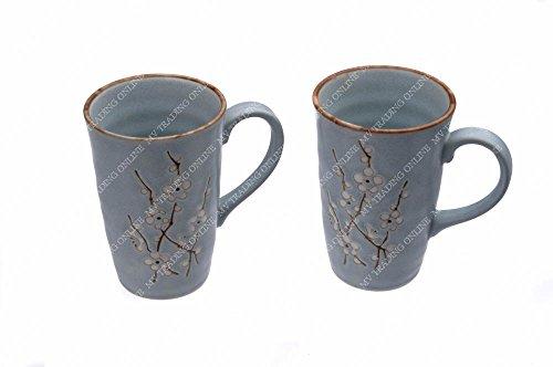 Japanese Blue Cherry Blossom Sakura Coffee Mugs Tea Cups with Handle Set of 2 Cups 12 Ounces