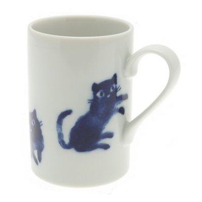 Japanese Mug WhiteIndigo Cats 113-618