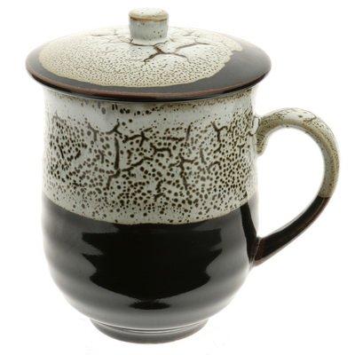 Japanese Mug With LidBlackWhite Frost 113-582