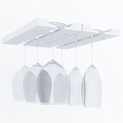 Under Cabinet Wooden Hanging Wine Glass Holder by ArtifactDesign Adjustable 2-Sectional Stemware Storage Rack White