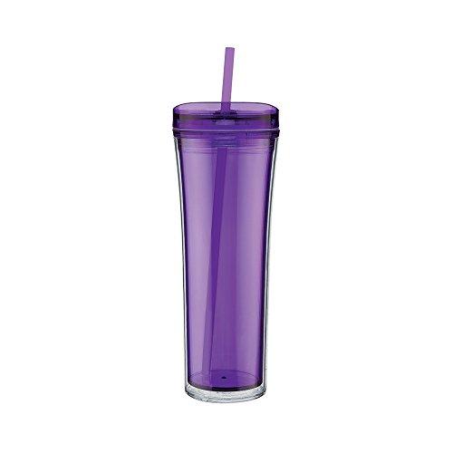 Double Wall Sleek and Tall Acrylic Tumbler - Double Wall 20oz Capacity - Purple