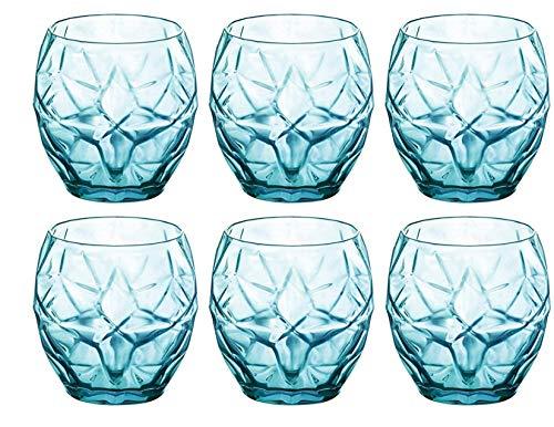 Bormioli Rocco 320261BAQ121990 Oriente Water Glass Set of 6 135 oz Cool Blue