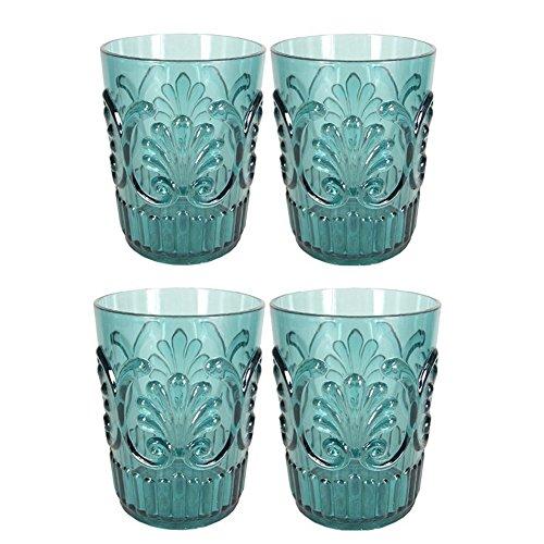 Le Cadeaux Fleur Teal Blue 4 Piece Water Glass Set