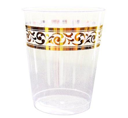Posh Setting Clear Hard Plastic 10 oz Tumblers cups with Elegant Gold Premium Design 40 Pack