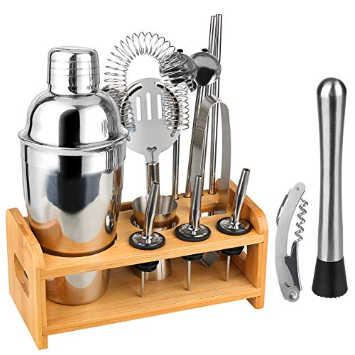 Hossejoy Bartender Kit Stainless Steel Cocktail Shaker Set14 Piece Bar Tool Set with Stylish Bamboo Stand Shaker with Strainer Muddler Jigger Stand Ice Thong Corkscrew and More