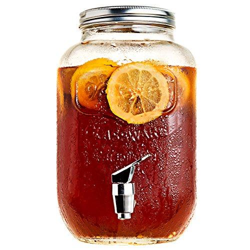 Mason Jar Glass Beverage Dispenser with Metal Lid 1 Gallon