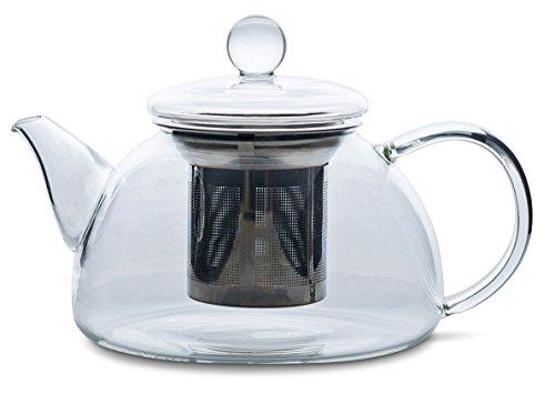 Redbird Artisan Small Glass Teapot - Stainless Steel Tea Infuser Filter Basket - Microwave and Stovetop Safe Glass Tea Pot 600 mL  20 oz