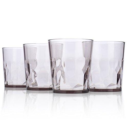 8 oz Premium Juice Glasses - Set of 4 - Unbreakable Tritan Plastic - BPA Free - 100 Made in Japan Smoky Gray