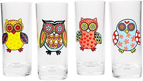 Home Essentials Beyond Wanderlust Assorted Owl Juice Glasses Set of 4 7 oz Clear