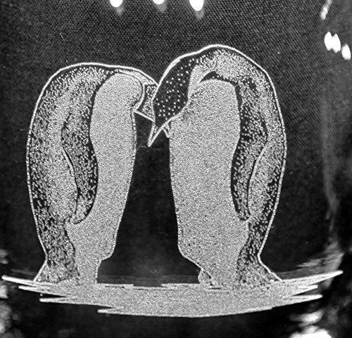 Pair Penguin Love Birds Laser Etched White Wine Juice Glass Set 2 SWW