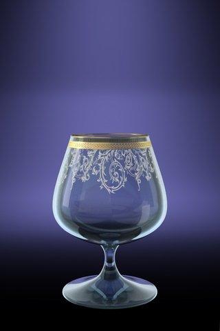 Crystal Goose TL40-1812 14 Oz Cognac Glasses with Golden Sputtering Brandy Whisky Snifters with Golden Greek Key Design Rim and Floral Patterns Set of 6